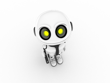White robot businessman photo