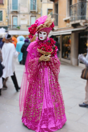 Venice Carnival Mask pink lady with flowers Stock Photo - 41617628
