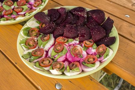Caprese salad and beetroot Stock fotó