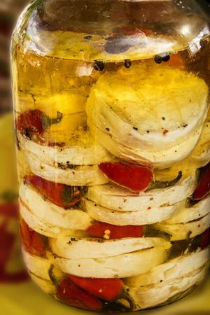 marinated: Marinated cheese Stock Photo