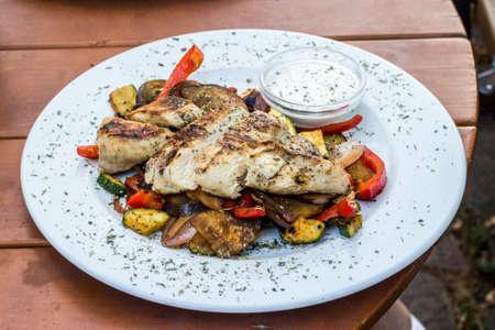 Chicken steak with vegetable