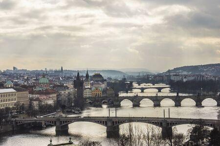 vltava: Prague scenery with Vltava bridges Stock Photo
