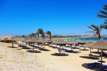 Beach with parasols Stock fotó