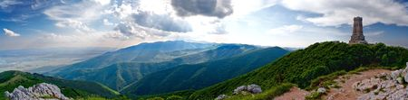 liberation:  Panorama from the Shipka peak to the Rose valley, Bulgaria. The mountain is Stara planina - Old Mountain in translation. There was a battle for national liberation of Bulgaria before more than 130 years.