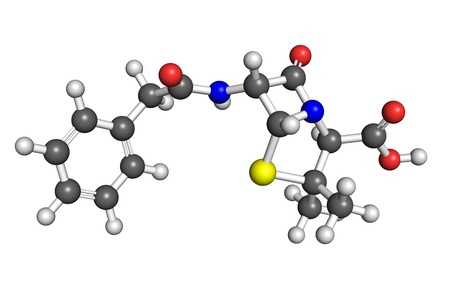 Ball and stick model of penicillin G, also known as benzylpenicillin  Atoms are coloured according to convention  nitrogen-blue, carbon-gray, oxygen-red, hydrogen-white, sulphur-yellow   photo