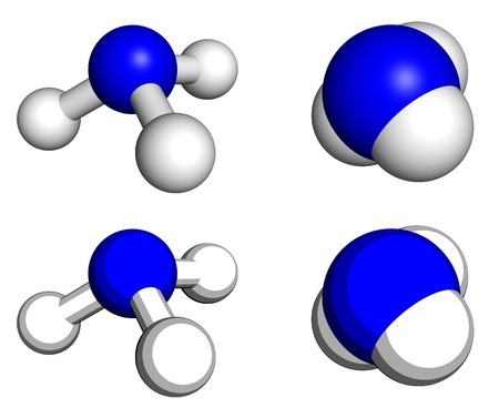 Ammonia molecule, ball-and-stick and space filling models.