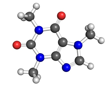 Ball and stick model of caffeine, stimulant drug found in coffee and a number of energy drinks. Atoms are coloured according to convention (carbon-grey, hydrogen-white, oxygen-red, nitrogen-blue). photo