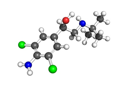 eg: Raytraced ball-and-stick model of clenbuterol molecule. Particular atoms coloured according to conventions (e.g. carbon-grey, hydrogen-white, oxygen-red etc.).