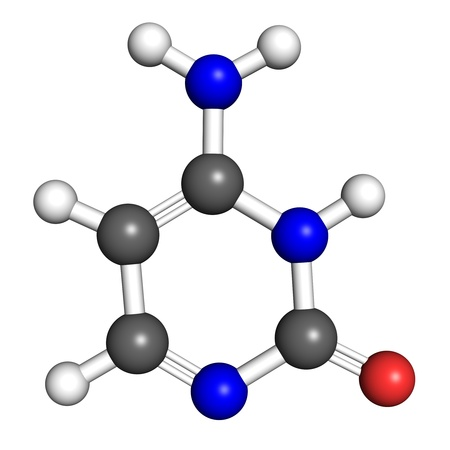 pharmacology: Cytosine is a nucleobase found in DNA and RNA molecules. Ball and stick model, atoms coloured according to convention. Stock Photo