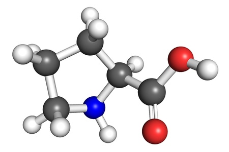 proline: Proline  amino acid  molecule, ball and stick model  Atoms colored according to convention  Stock Photo