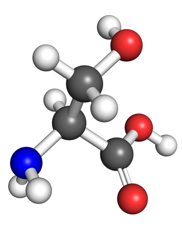 serine: Serine  amino acid  molecule, ball and stick model  Atoms colored according to convention