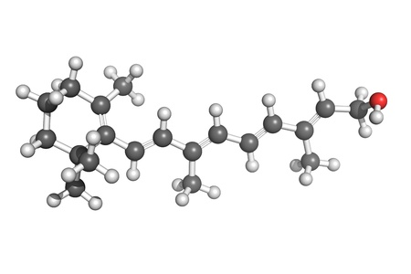 embryology: Ball and stick model of retinol (vitamin A). Atoms are coloured according to convention (carbon-grey, hydrogen-white, oxygen-red). Vitamin A is essential for vision, skin health, bone growth and teeth mineralization.