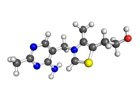 deficiency: Ball and stick model of thiamine (vitamin B1). Atoms are coloured according to convention (carbon-grey, hydrogen-white, oxygen-red, nitrogen-blue, sulphur-yellow). Vitamin B1 deficiency affects the central nervous system and cardiovascular system.  Stock Photo