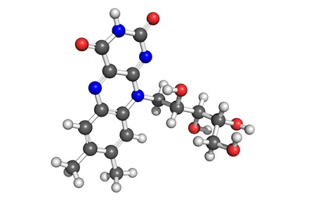 Ball and stick model of riboflavin (vitamin B2). Atoms are coloured according to convention (carbon-grey, hydrogen-white, oxygen-red, nitrogen-blue). Vitamin B2 is important for metabolism of fats, ketone bodies, carbohydrates and proteins. Stock Photo
