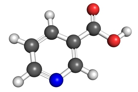 nicotinic: Ball and stick model of vitamin B3, also known as niacin and nicotinic acid. Atoms are coloured according to convention (nitrogen-blue; carbon-gray; oxygen-red; hydrogen-white).