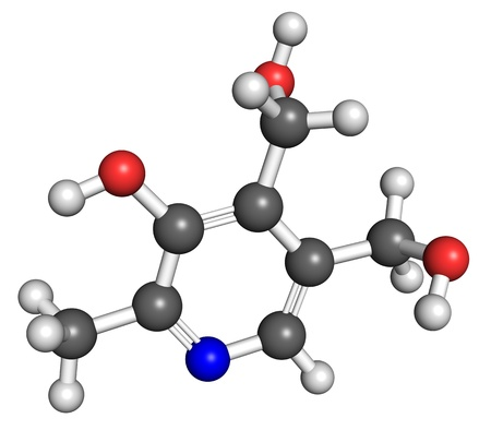 Ball and stick model of vitamin B6, also known as pyridoxine. Atoms are coloured according to convention (nitrogen-blue, carbon-gray, oxygen-red, hydrogen-white).