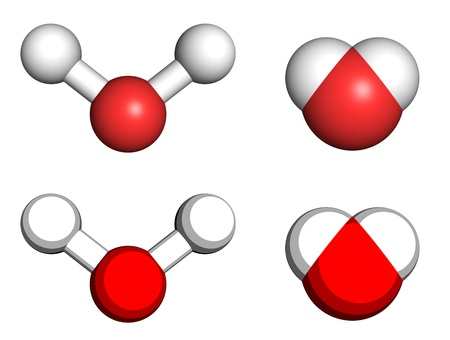 enzyme: Water molecules, ball-and-stick and space filling molecular models.