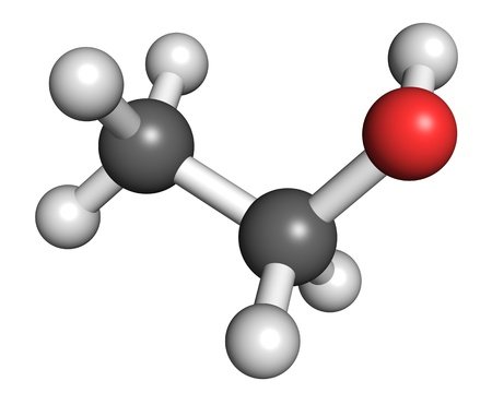 Ethanol, ball and stick model. Also known as ethyl alcohol or drinking alcohol, it is the most widely accepted recreational psychoactive drug, and is also used as a solvent, fuel, or indicator in thermometers. Stock Photo - 18850224