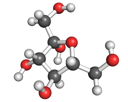 sweetener: Fructose molecule, ball and stick model. Shown in its most common form in aqueous solution - fructofuranose. Stock Photo