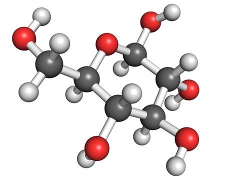 Molécula de glucosa, la bola y el modelo de palo. Se muestra en su forma más común en solución acuosa - glucopiranosa. Foto de archivo