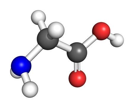 glycine: Glycine amino acid molecule, ball and stick model  Atoms colored according to convention