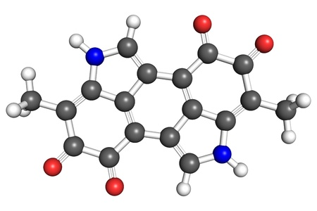 according: Melanin, a pigment important for protection against skin cancer  Ball and stick model, atoms are coloured according to convention  nitrogen-blue; carbon-gray; oxygen-red; hydrogen-white   Stock Photo