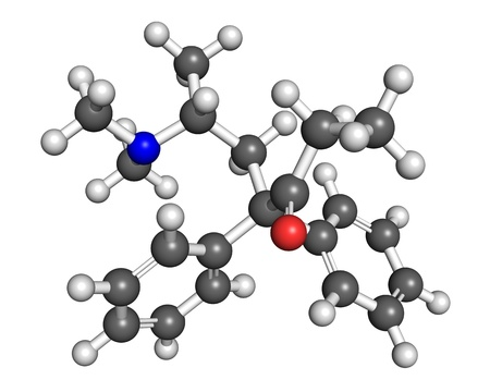opioid: Methadone is a drug used for anti-addictive therapy in patients with opioid dependency  Ball and stick model, atoms coloured accodring to convention  N - blue; O - red; C - grey, H - white