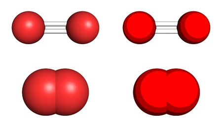 oxidation: Oxygen molecule, ball-and-stick and space filling models