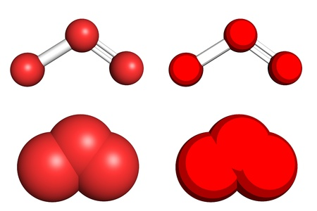 gas ball: Ozone molecule, ball-and-stick and space filling models