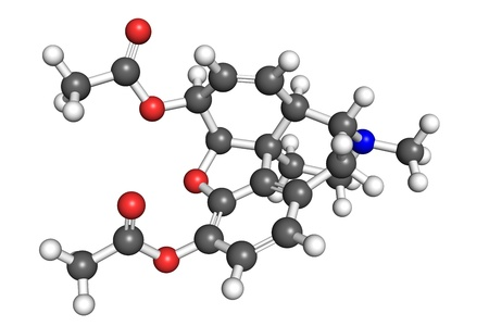 opioid: Heroin (diacetylmorphine) molecule, ball and stick model. Atoms are coloured according to convention.
