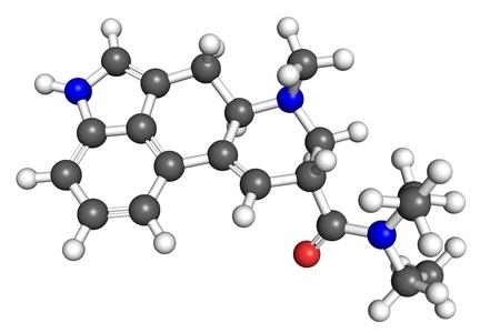 lsd: LSD molecule, ball and stick model. Stock Photo