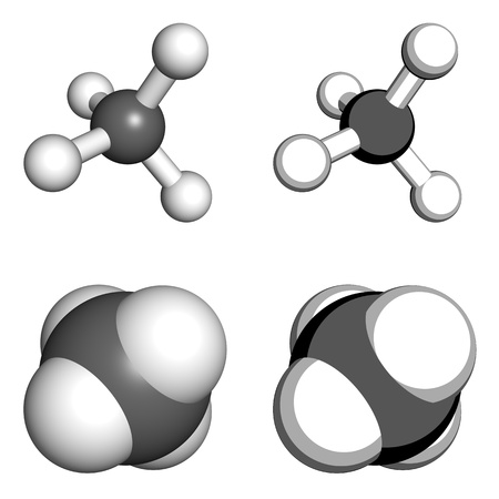 methyl: Methane molecule, ball-and-stick and space-filling models.