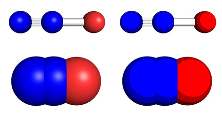Nitrous oxide, also known as laughing gas. Ball-and-stick and space filling models.