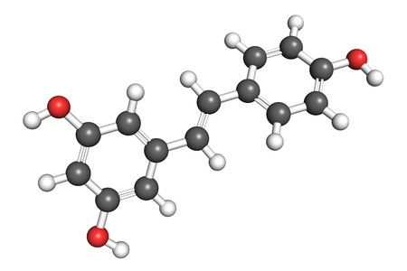 according: Resveratrol molecule, ball and stick model. Atoms are coloured according to convention (oxygen-red, hydrogen-white, carbon-gray). Stock Photo