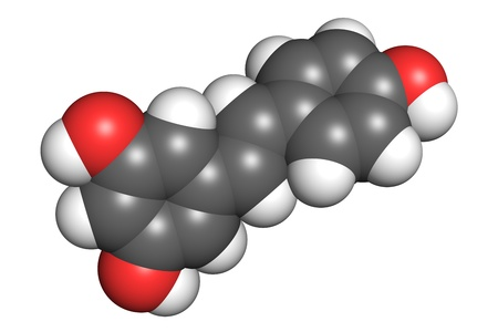 according: Resveratrol molecule, space-filling model. Atoms are coloured according to convention (oxygen-red, hydrogen-white, carbon-gray).