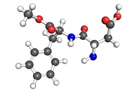 sweetener: Aspartame molecule, ball-and-stick model. Aspartame is an artificial sweetener used as a sugar substitute in diet foods and beverages.