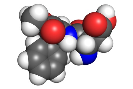 sweetener: Aspartame molecule, space-filling model. Aspartame is an artificial sweetener used as a sugar substitute in diet foods and beverages. Stock Photo
