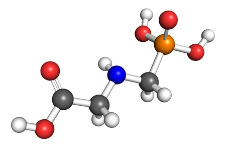 herbicide: Glyphosate is a widely used broad-spectrum herbicide. Ball and stick model, conventional atom colouring. Stock Photo