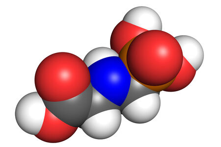 Glyphosate is a widely used broad-spectrum herbicide. Space-filling model, conventional atom colouring.