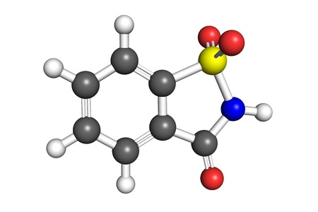 sweetener: Saccharin molecule, space-filling model. Saccharin is an artificial sweetener used to sweeten diet food and drinks. Stock Photo
