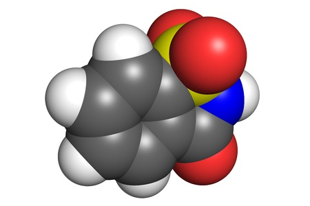 sweeten: Saccharin molecule, space-filling model. Saccharin is an artificial sweetener used to sweeten diet foods and beverages.