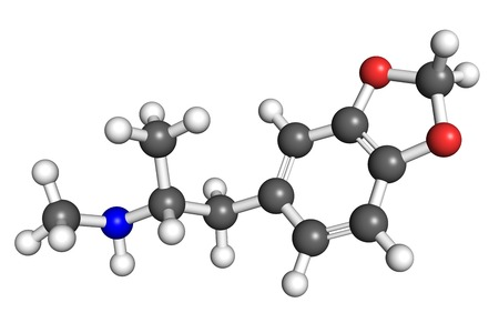 trafficking: The stcurture of MDMA molecule, space-filling model. MDMA is a widely used recreational drug.
