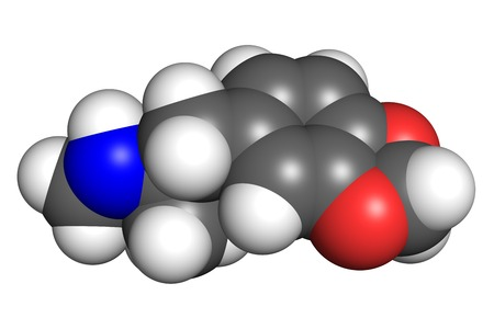 proteomics: The stcurture of MDMA molecule, space-filling model. MDMA is a widely used recreational drug.