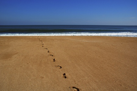 Footsteps on a sandy beach disappearing into the blue sea photo