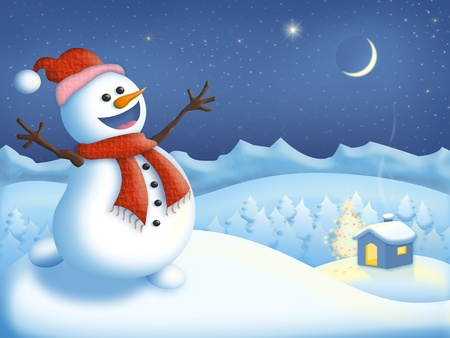 Happy snowman celebrating Christmas in the mountains by a house and a christmas tree photo