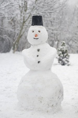 silently: Snow falling over a snowman and a christmas tree