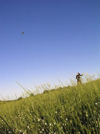 Young girl flying a kite in the fresh green grass under the clear blue sky photo