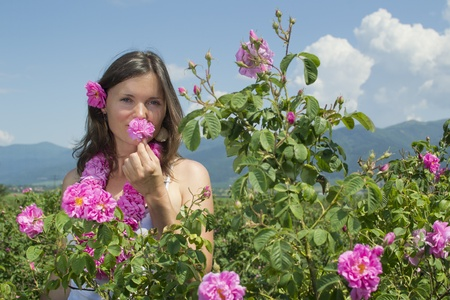 Beautiful girl smelling a rose in rose field wearing a garland of roses photo
