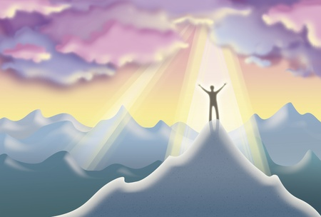 top of the world: XXL illustration of a man on top of a mountain peak happy with his success under the heavenly light Stock Photo