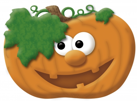 large pumpkin: Illustration of a smiling pumpkin with eyes, mouth and nose
